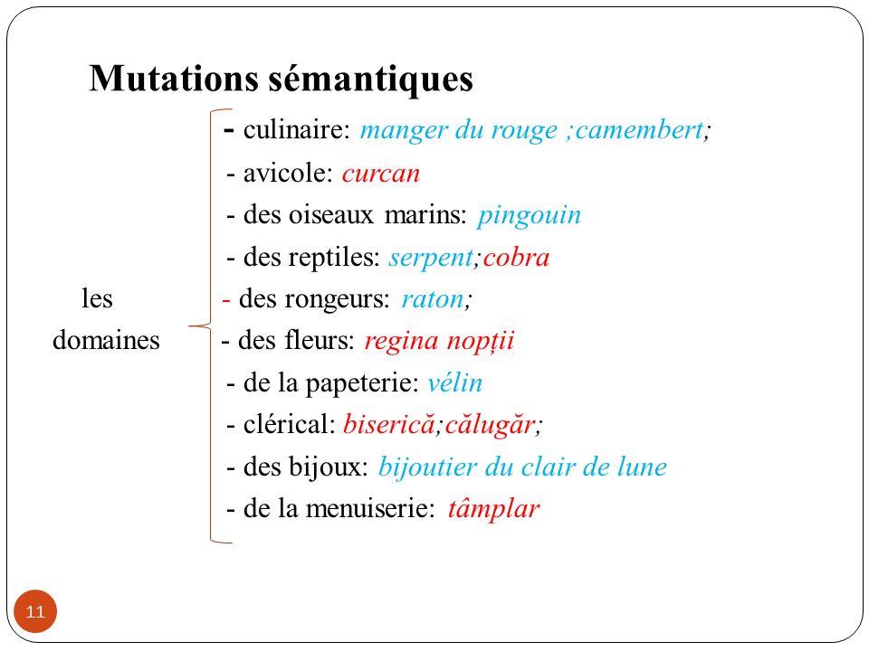 Mutations sémantiques 11 - culinaire: manger du rouge ;camembert; - avicole: curcan - des oiseaux marins: pingouin - des reptiles: serpent;cobra les -