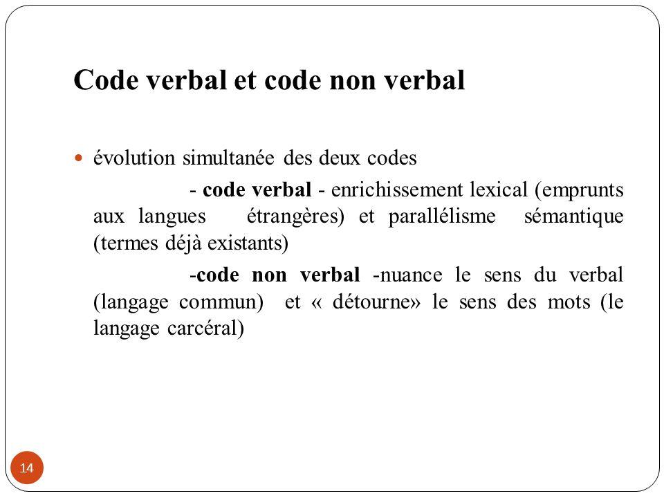Code verbal et code non verbal évolution simultanée des deux codes - code verbal - enrichissement lexical (emprunts aux langues étrangères) et parallé