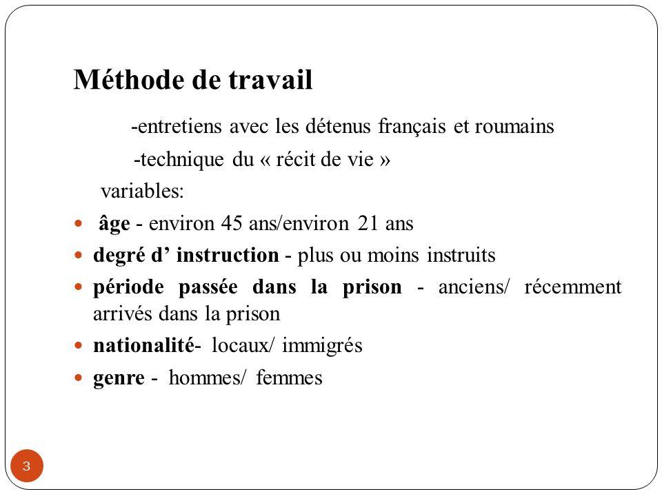 Méthode de travail -entretiens avec les détenus français et roumains -technique du « récit de vie » variables: âge - environ 45 ans/environ 21 ans deg