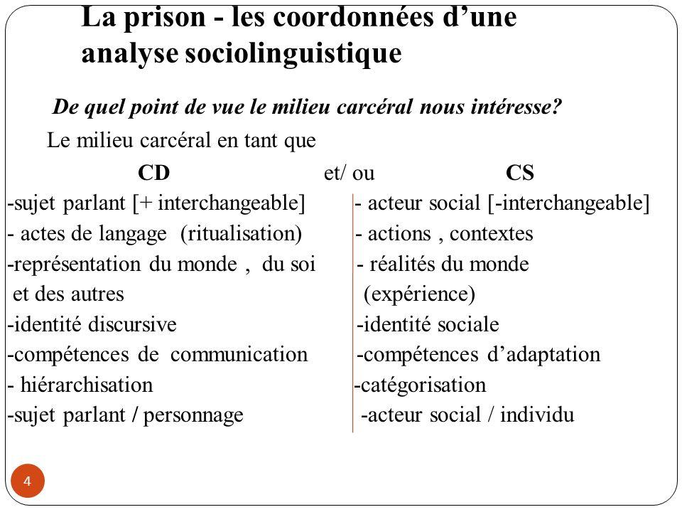 La prison - les coordonnées dune analyse sociolinguistique De quel point de vue le milieu carcéral nous intéresse? Le milieu carcéral en tant que CD e
