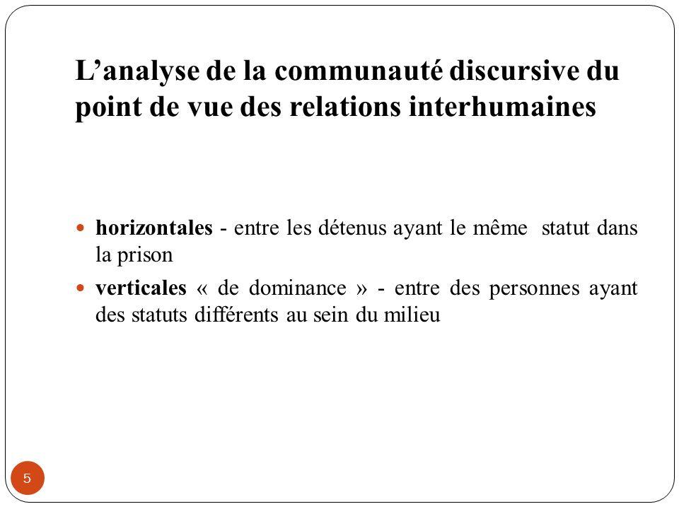 Lanalyse de la communauté discursive du point de vue des relations interhumaines 5 horizontales - entre les détenus ayant le même statut dans la priso
