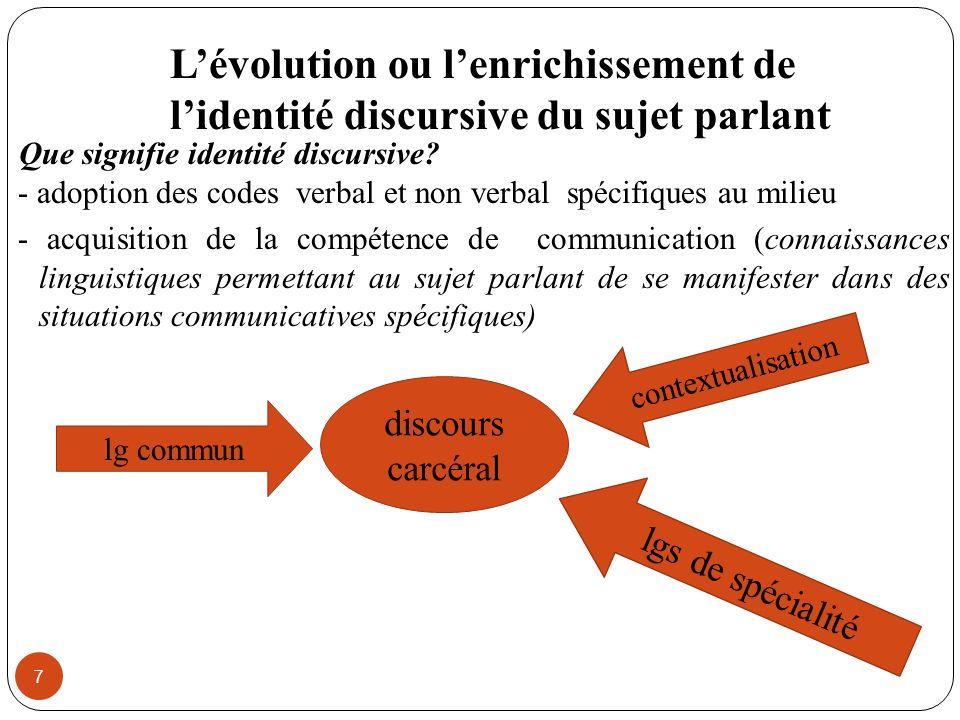 Lévolution ou lenrichissement de lidentité discursive du sujet parlant 7 Que signifie identité discursive? - adoption des codes verbal et non verbal s
