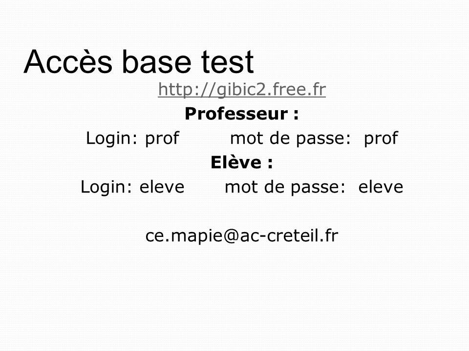 Accès base test http://gibic2.free.fr Professeur : Login: prof mot de passe: prof Elève : Login: eleve mot de passe: eleve ce.mapie@ac-creteil.fr