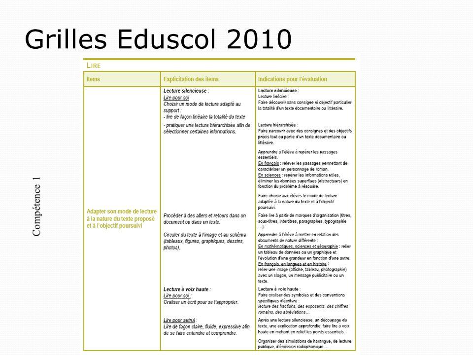 Grilles Eduscol 2010