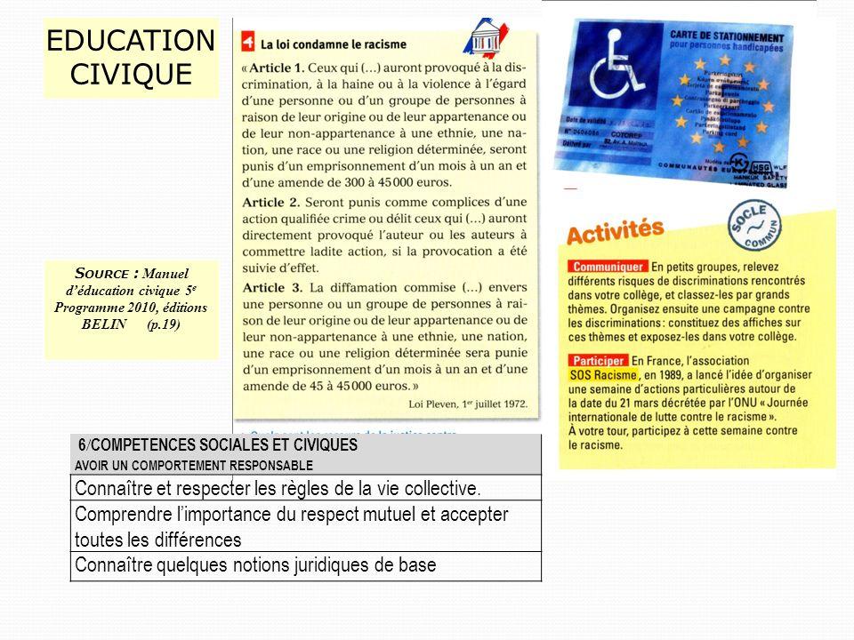 EDUCATION CIVIQUE 6 / COMPETENCES SOCIALES ET CIVIQUES AVOIR UN COMPORTEMENT RESPONSABLE Connaître et respecter les règles de la vie collective.