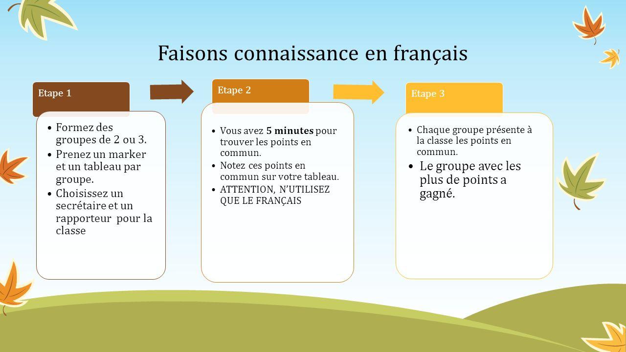Faisons connaissance en français Etape 1 Formez des groupes de 2 ou 3. Prenez un marker et un tableau par groupe. Choisissez un secrétaire et un rappo