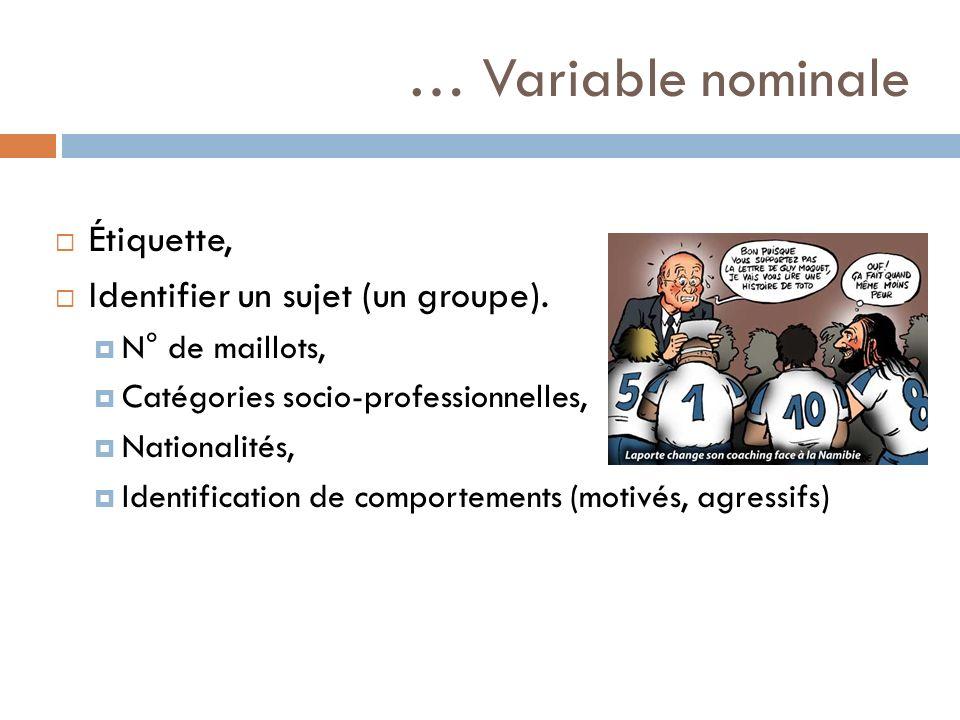 … Variable nominale Étiquette, Identifier un sujet (un groupe). N° de maillots, Catégories socio-professionnelles, Nationalités, Identification de com