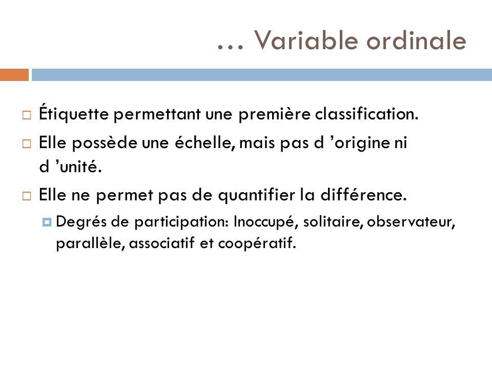 … Variable ordinale Étiquette permettant une première classification. Elle possède une échelle, mais pas d origine ni d unité. Elle ne permet pas de q
