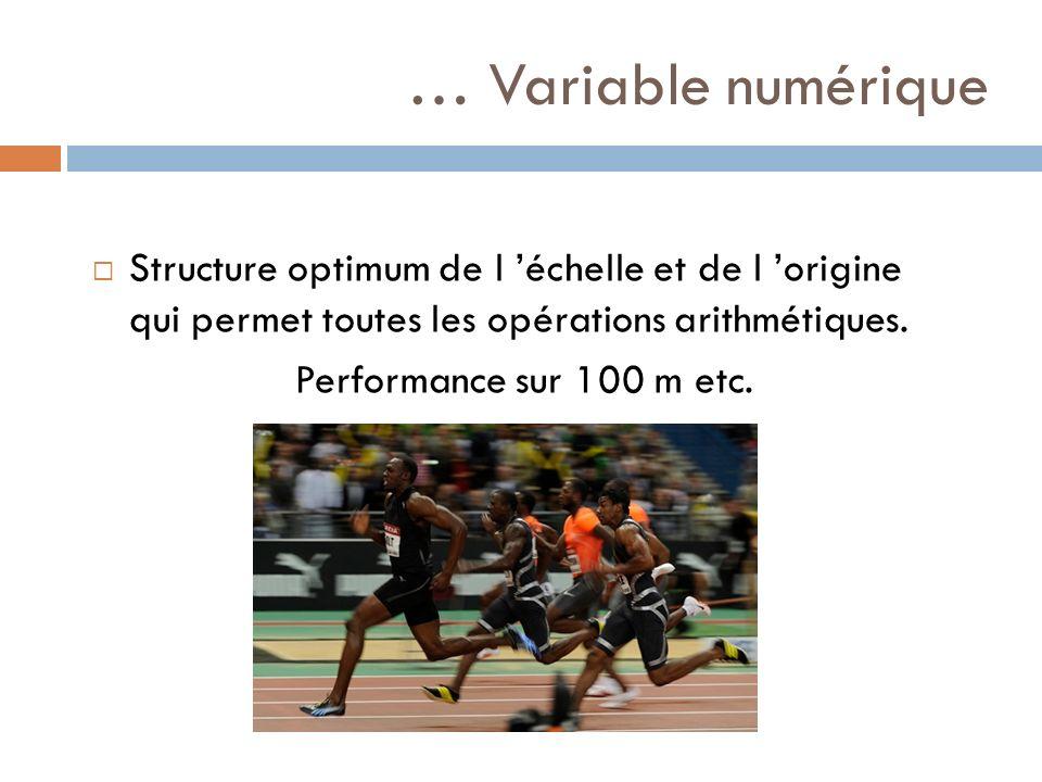 … Variable numérique Structure optimum de l échelle et de l origine qui permet toutes les opérations arithmétiques. Performance sur 100 m etc.
