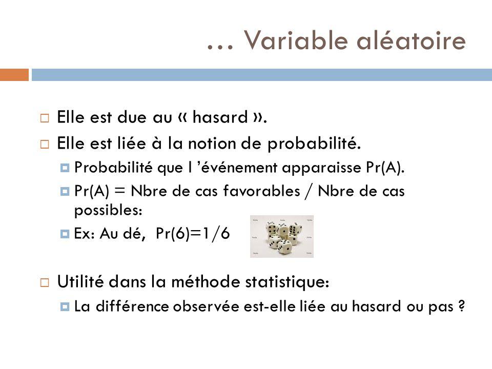 … Variable aléatoire Elle est due au « hasard ». Elle est liée à la notion de probabilité. Probabilité que l événement apparaisse Pr(A). Pr(A) = Nbre