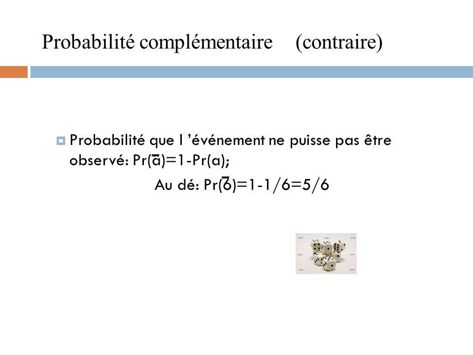 Probabilité que l événement ne puisse pas être observé: Pr(ä)=1-Pr(a); Au dé: Pr(6)=1-1/6=5/6 Probabilité complémentaire (contraire)