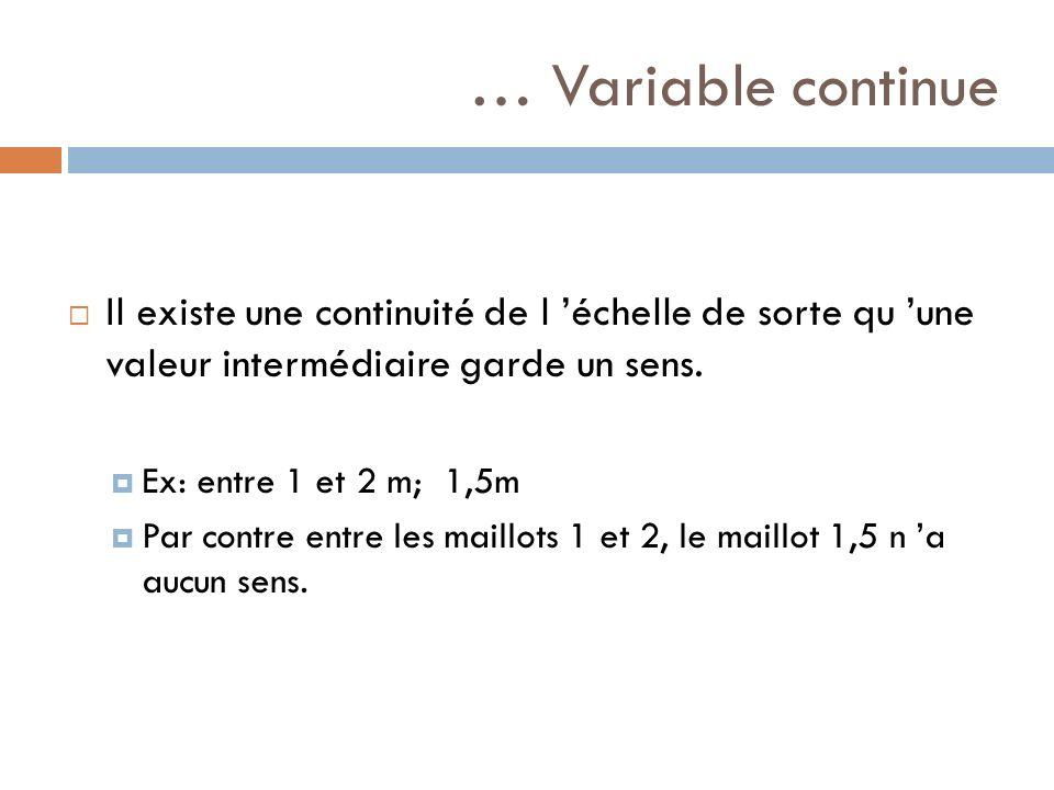 … Variable continue Il existe une continuité de l échelle de sorte qu une valeur intermédiaire garde un sens. Ex: entre 1 et 2 m; 1,5m Par contre entr