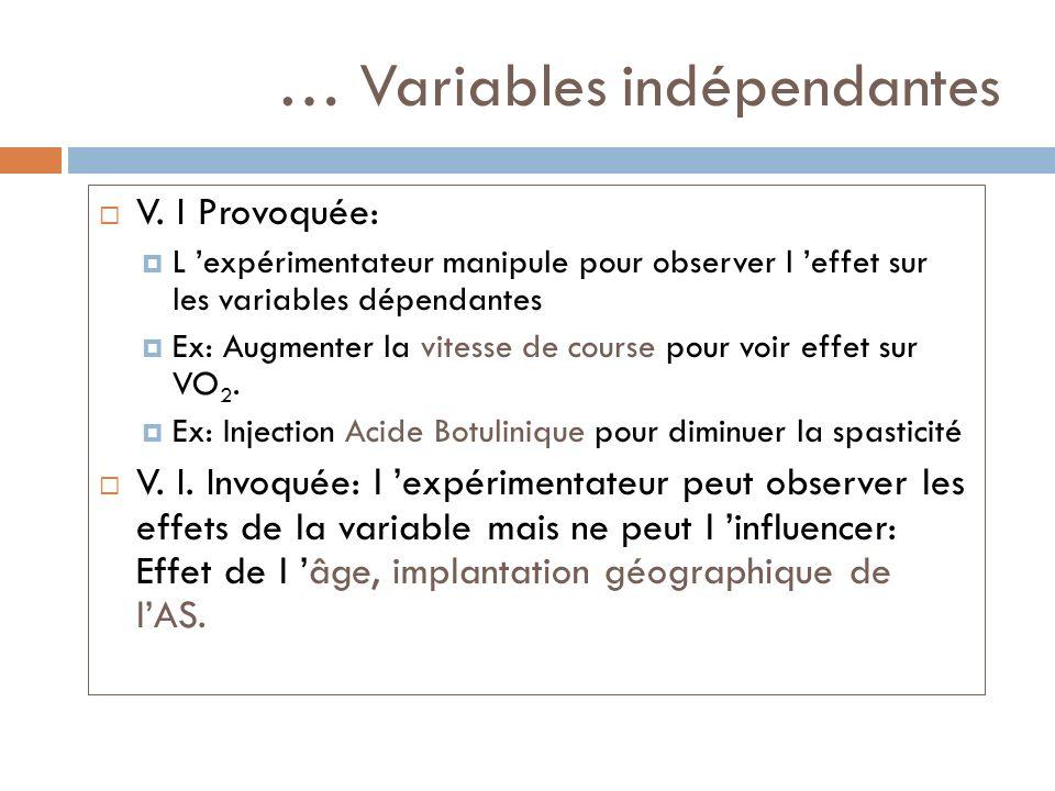 … Variables indépendantes V. I Provoquée: L expérimentateur manipule pour observer l effet sur les variables dépendantes Ex: Augmenter la vitesse de c