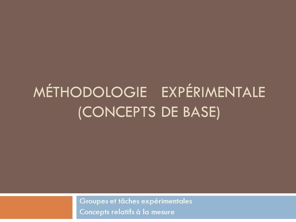 MÉTHODOLOGIE EXPÉRIMENTALE (CONCEPTS DE BASE) Groupes et tâches expérimentales Concepts relatifs à la mesure
