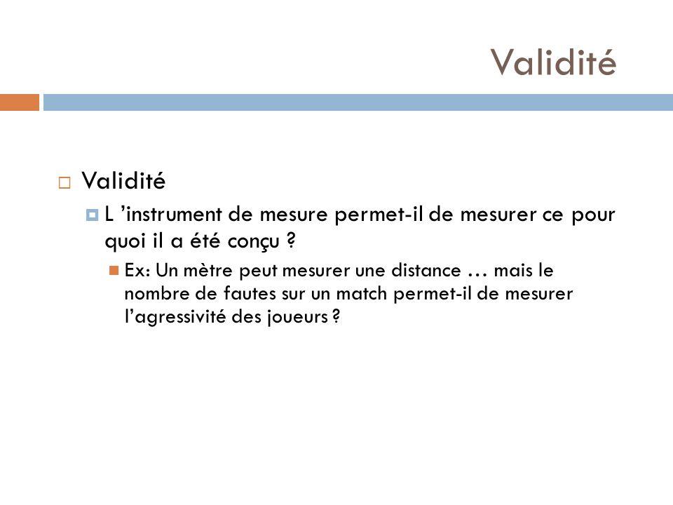 Validité L instrument de mesure permet-il de mesurer ce pour quoi il a été conçu ? Ex: Un mètre peut mesurer une distance … mais le nombre de fautes s