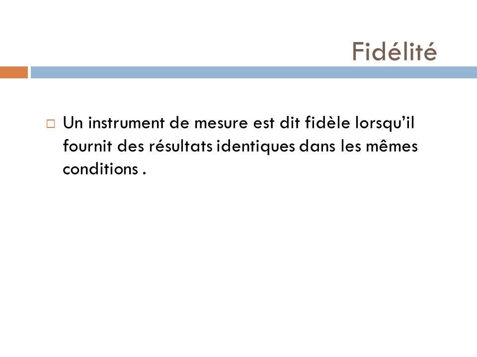 Fidélité Un instrument de mesure est dit fidèle lorsquil fournit des résultats identiques dans les mêmes conditions.