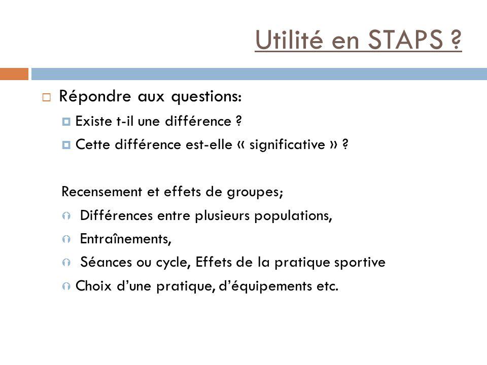Utilité en STAPS ? Répondre aux questions: Existe t-il une différence ? Cette différence est-elle « significative » ? Recensement et effets de groupes