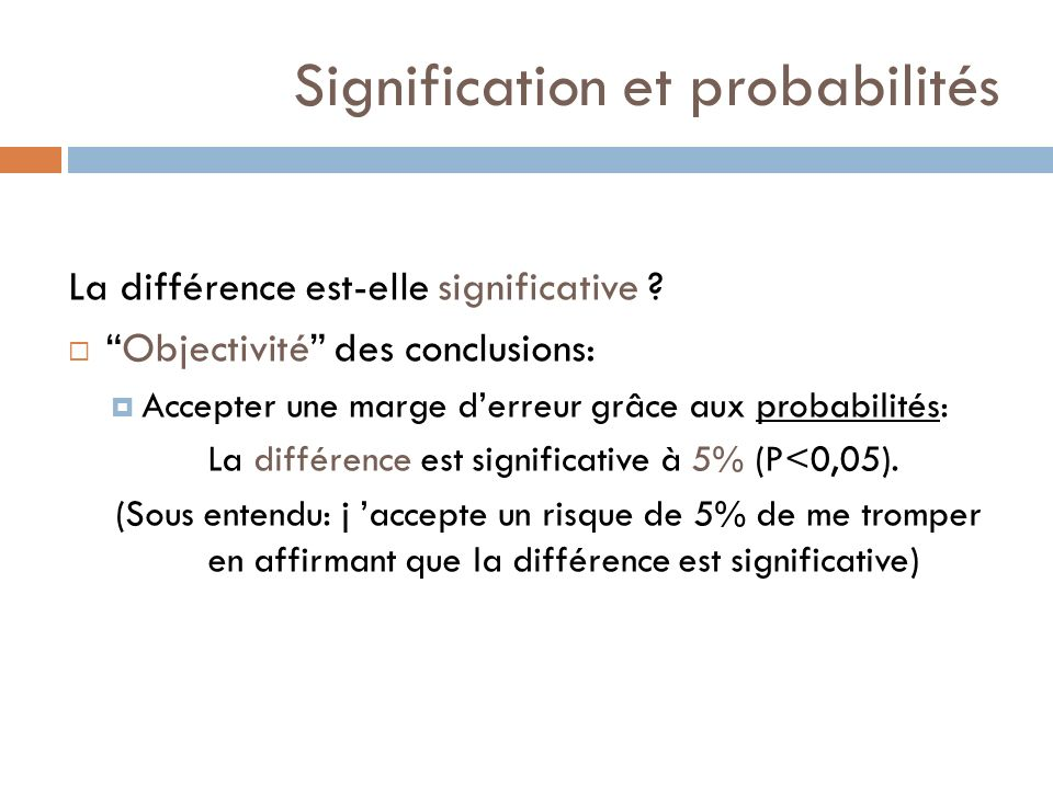 Lanalyse statistique …..