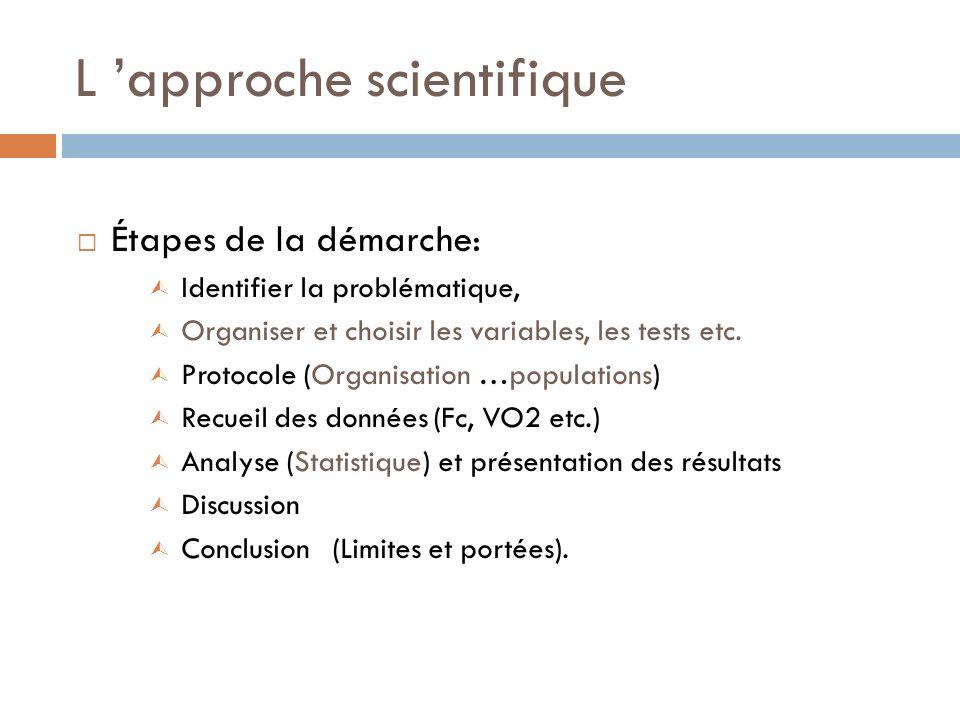 L approche scientifique Étapes de la démarche: Ù Identifier la problématique, Ù Organiser et choisir les variables, les tests etc. Ù Protocole (Organi