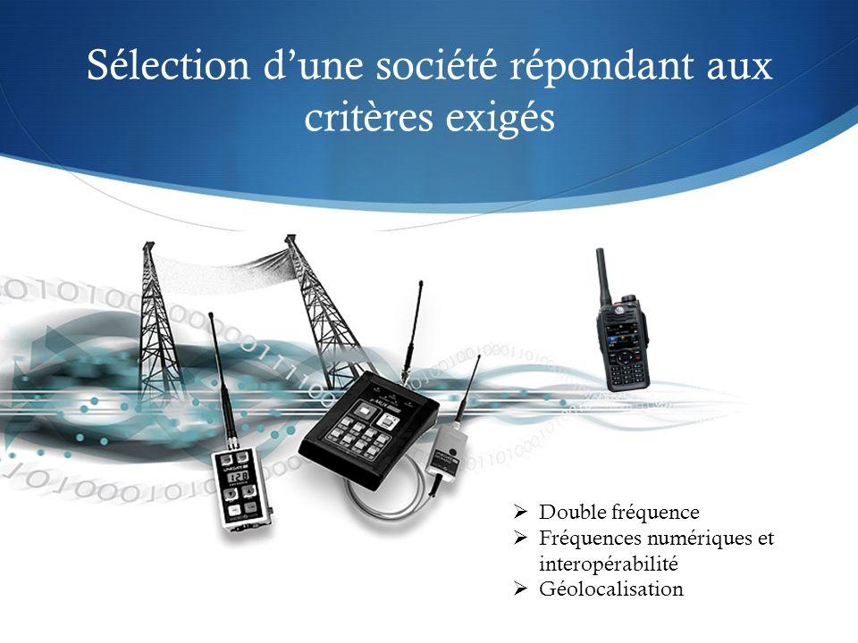Sélection dune société répondant aux critères exigés Double fréquence Fréquences numériques et interopérabilité Géolocalisation