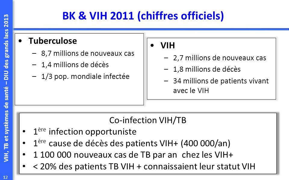 VIH, TB et systèmes de santé – DIU des grands lacs 2013 12 BK & VIH 2011 (chiffres officiels) Tuberculose –8,7 millions de nouveaux cas –1,4 millions de décès –1/3 pop.