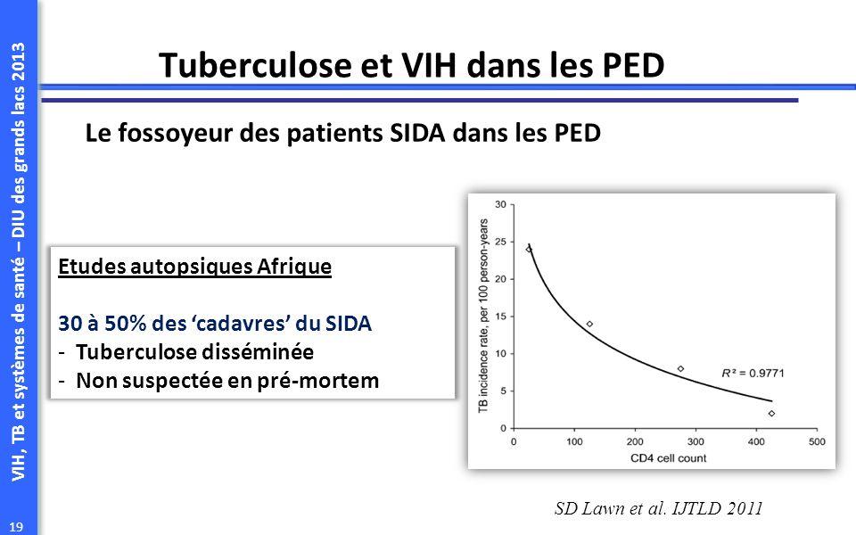 VIH, TB et systèmes de santé – DIU des grands lacs 2013 19 Tuberculose et VIH dans les PED Le fossoyeur des patients SIDA dans les PED SD Lawn et al.