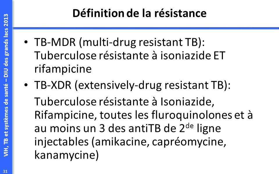 VIH, TB et systèmes de santé – DIU des grands lacs 2013 31 Définition de la résistance TB-MDR (multi-drug resistant TB): Tuberculose résistante à isoniazide ET rifampicine TB-XDR (extensively-drug resistant TB): Tuberculose résistante à Isoniazide, Rifampicine, toutes les fluroquinolones et à au moins un 3 des antiTB de 2 de ligne injectables (amikacine, capréomycine, kanamycine)