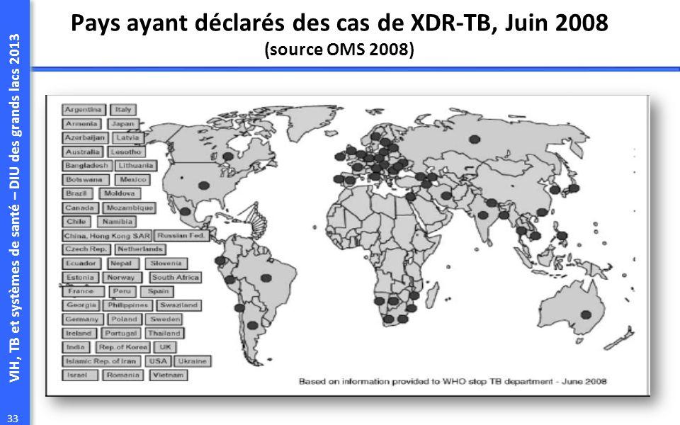 VIH, TB et systèmes de santé – DIU des grands lacs 2013 33 Pays ayant déclarés des cas de XDR-TB, Juin 2008 (source OMS 2008)