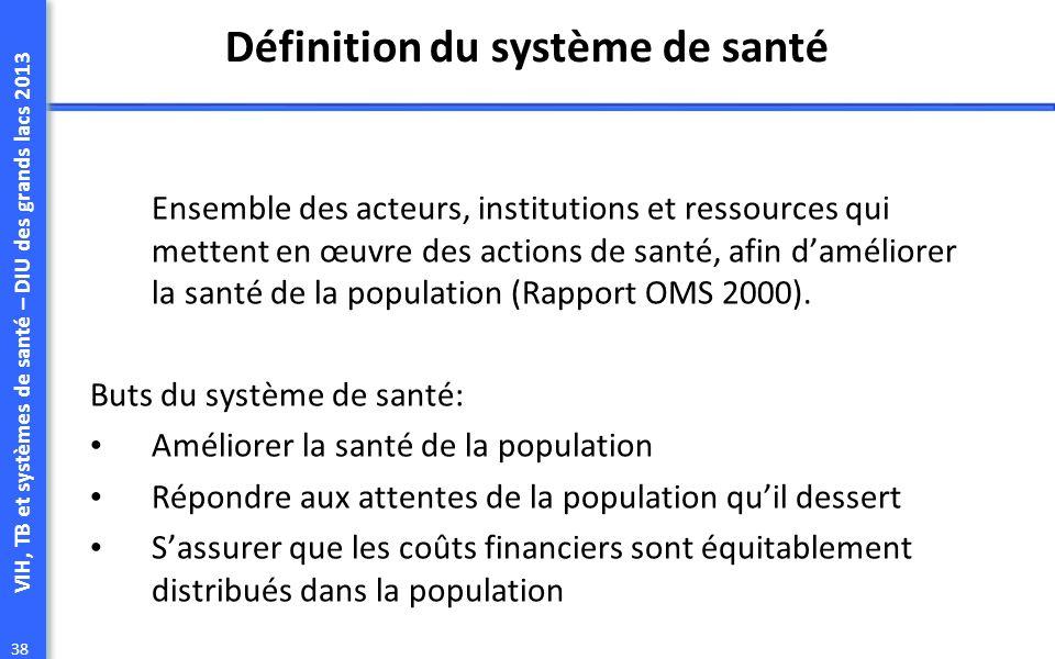 VIH, TB et systèmes de santé – DIU des grands lacs 2013 38 Définition du système de santé Ensemble des acteurs, institutions et ressources qui mettent en œuvre des actions de santé, afin daméliorer la santé de la population (Rapport OMS 2000).