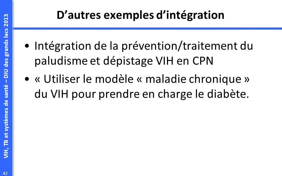VIH, TB et systèmes de santé – DIU des grands lacs 2013 42 Dautres exemples dintégration Intégration de la prévention/traitement du paludisme et dépistage VIH en CPN « Utiliser le modèle « maladie chronique » du VIH pour prendre en charge le diabète.