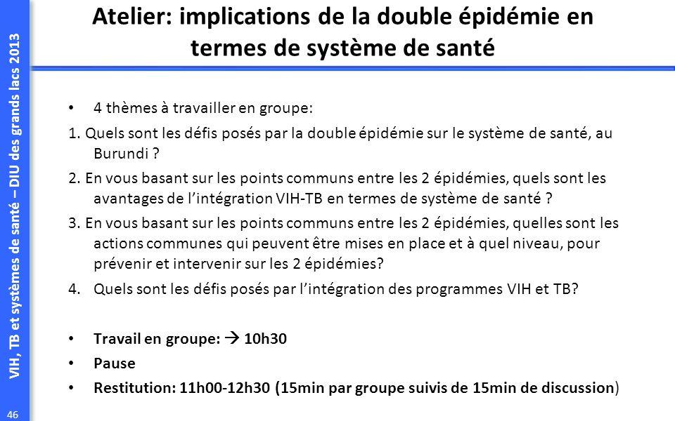 VIH, TB et systèmes de santé – DIU des grands lacs 2013 46 Atelier: implications de la double épidémie en termes de système de santé 4 thèmes à travailler en groupe: 1.