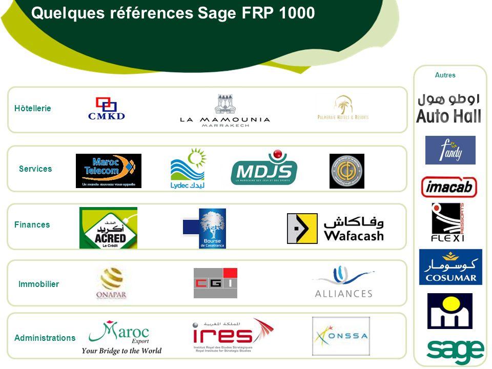 Quelques références Sage FRP 1000 Finances Hôtellerie Services Administrations Immobilier Autres