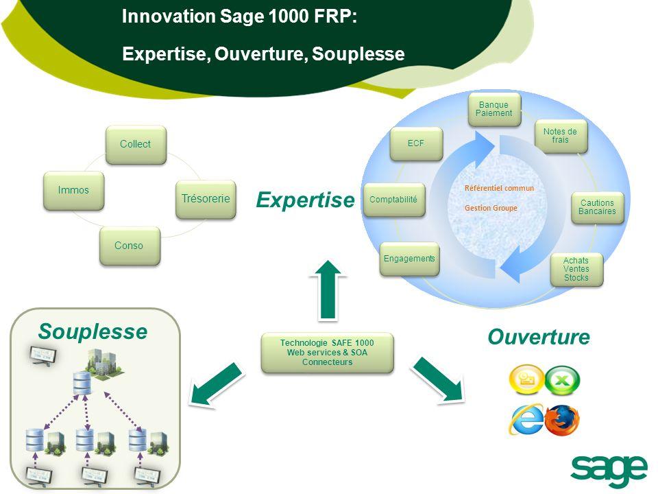 Innovation Sage 1000 FRP: Expertise, Ouverture, Souplesse Banque Paiement Notes de frais Cautions Bancaires Achats Ventes Stocks EngagementsComptabili