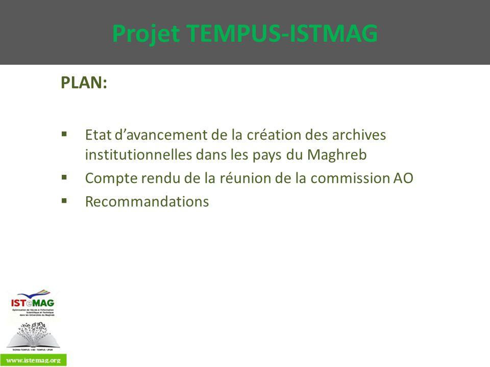 Projet TEMPUS-ISTMAG PLAN: Etat davancement de la création des archives institutionnelles dans les pays du Maghreb Compte rendu de la réunion de la co