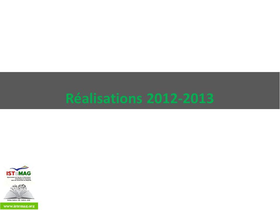 Etat davancement PaysRéalisations Algérie Installation Dspace Paramétrage 1000 articles Maroc Installation Dspace Paramétrage Définition des métadonnées 160 articles et thèses Perte de données Réinstallation Tunisie Politique institutionnelle et nationale Formations et communication Installation Invenio au CNUDST Paramétrage