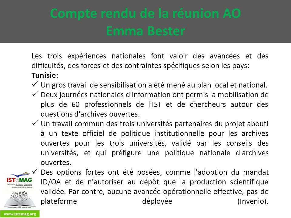 Algérie: L implication forte du CERIST a donné du poids au projet et fédérer les universités partenaires pour atteindre des objectifs opérationnels: 3 plateformes (DSpace) sont actuellement déployées, seule l université de Batna rencontre des difficultés techniques, mais qui pourront être vite levées par le soutien de l université de Boumerdès (F.