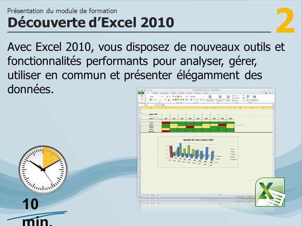 2 Avec Excel 2010, vous disposez de nouveaux outils et fonctionnalités performants pour analyser, gérer, utiliser en commun et présenter élégamment de
