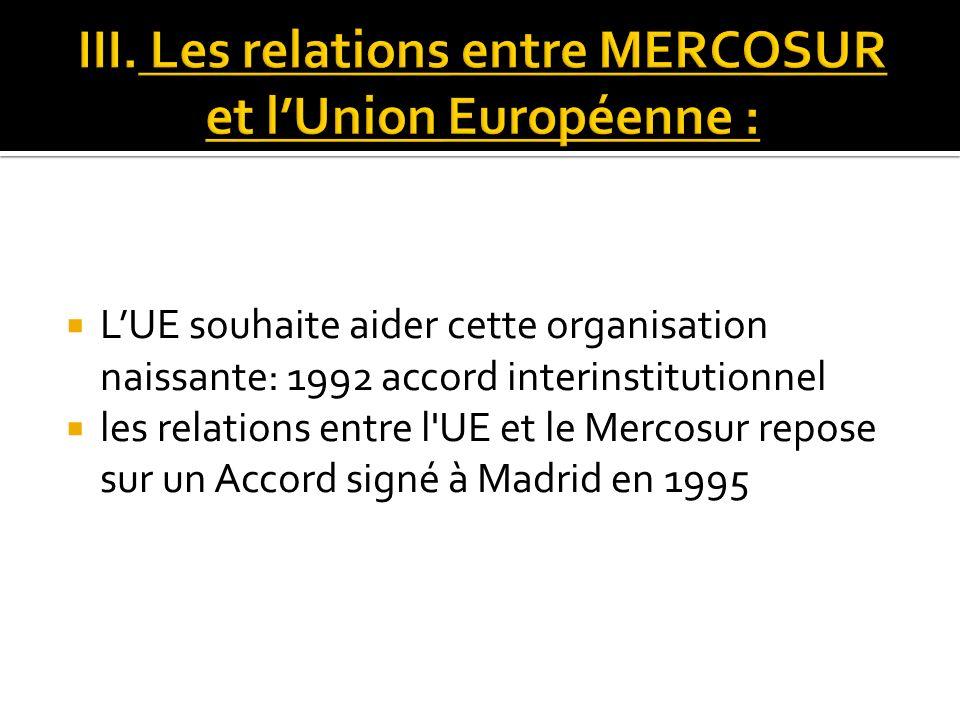 LUE souhaite aider cette organisation naissante: 1992 accord interinstitutionnel les relations entre l'UE et le Mercosur repose sur un Accord signé à