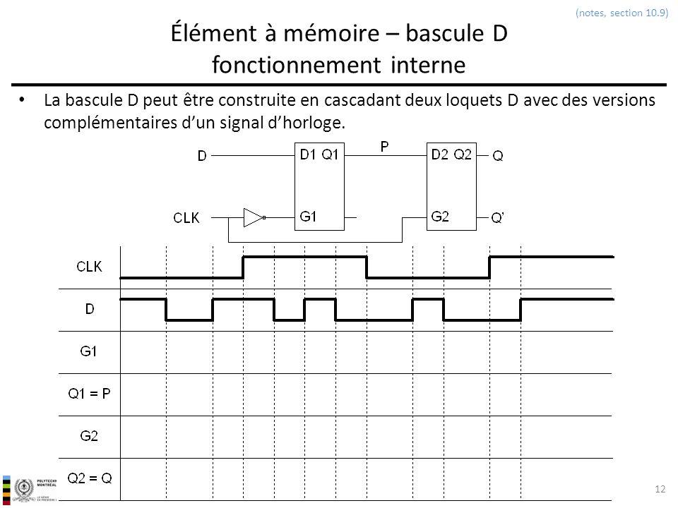 INF3500 : Conception et implémentation de systèmes numériques Élément à mémoire – bascule D fonctionnement interne La bascule D peut être construite e
