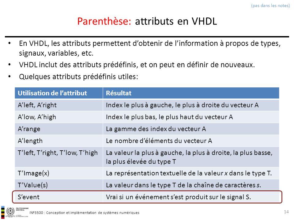 INF3500 : Conception et implémentation de systèmes numériques Parenthèse: attributs en VHDL En VHDL, les attributs permettent dobtenir de linformation