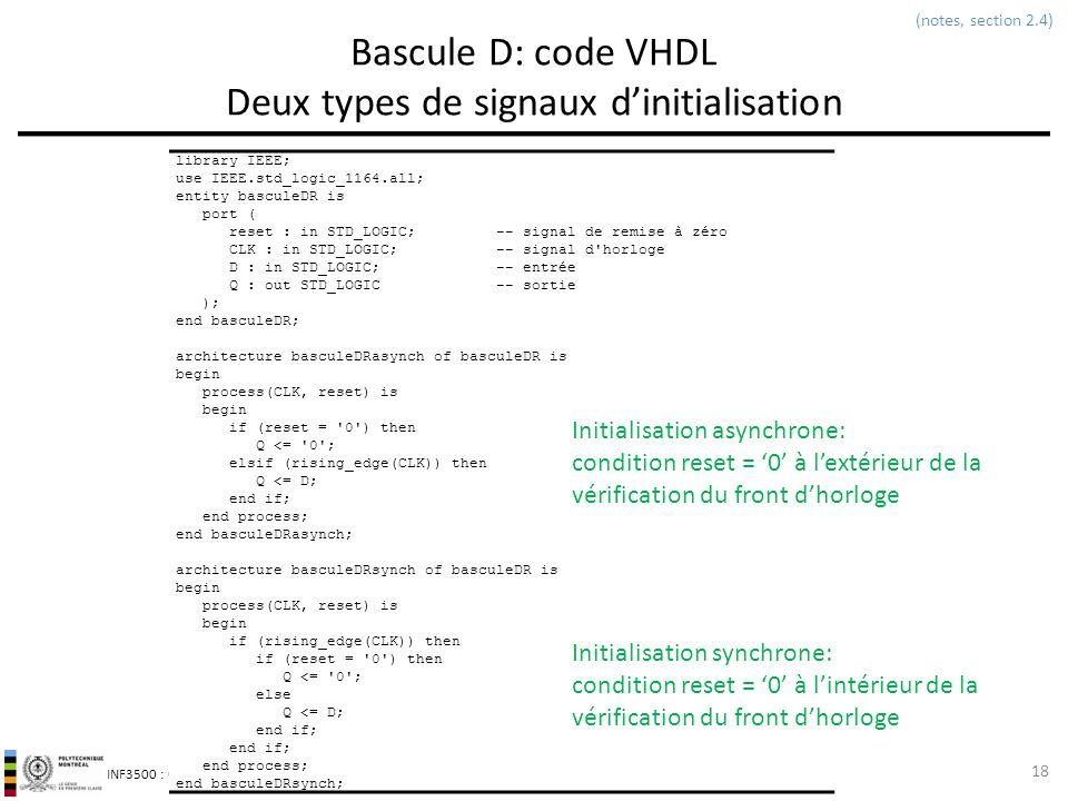 INF3500 : Conception et implémentation de systèmes numériques Bascule D: code VHDL Deux types de signaux dinitialisation 18 library IEEE; use IEEE.std