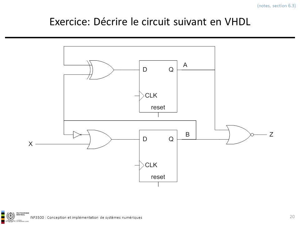 INF3500 : Conception et implémentation de systèmes numériques Exercice: Décrire le circuit suivant en VHDL 20 (notes, section 6.3)
