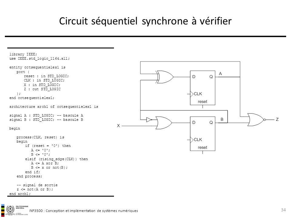 INF3500 : Conception et implémentation de systèmes numériques Circuit séquentiel synchrone à vérifier 34 library IEEE; use IEEE.std_logic_1164.all; en