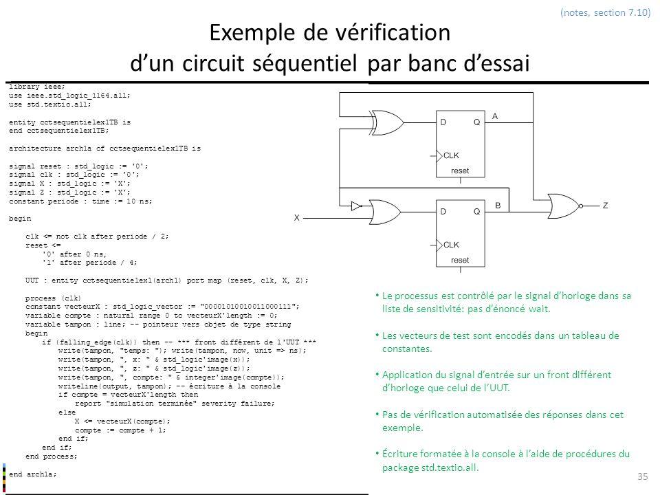 INF3500 : Conception et implémentation de systèmes numériques Exemple de vérification dun circuit séquentiel par banc dessai 35 (notes, section 7.10)