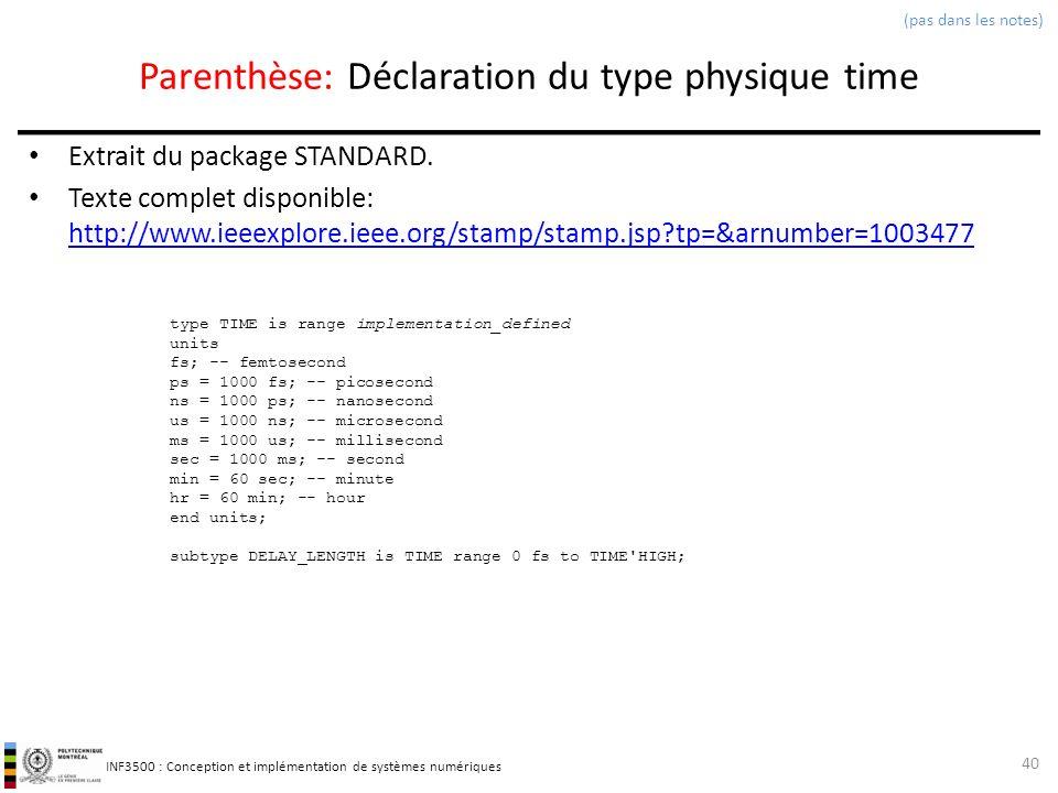 INF3500 : Conception et implémentation de systèmes numériques Parenthèse: Déclaration du type physique time Extrait du package STANDARD. Texte complet