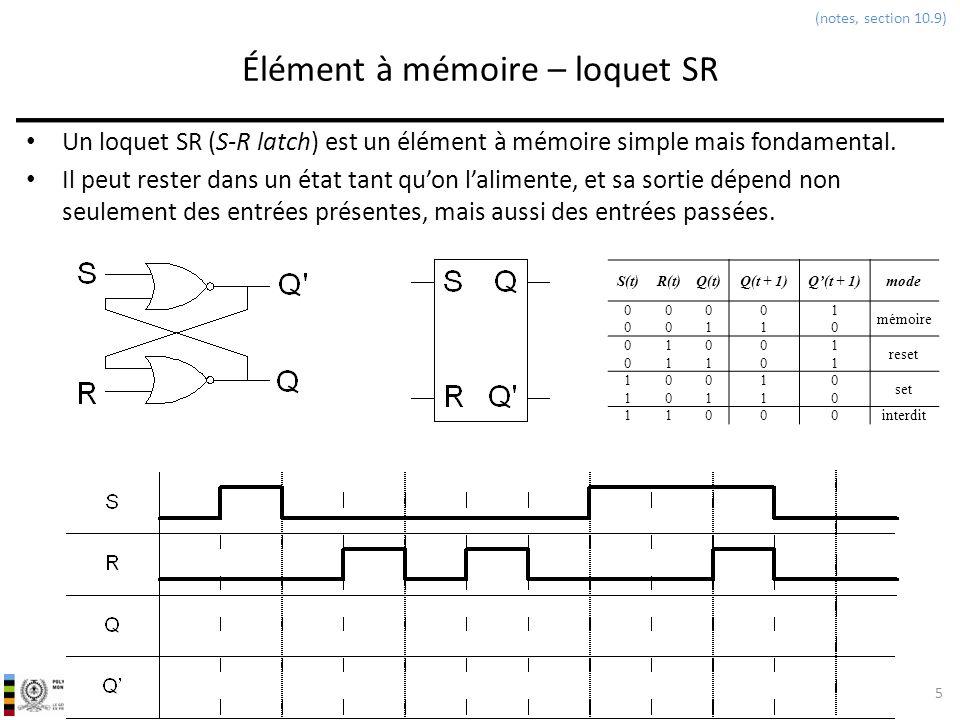 INF3500 : Conception et implémentation de systèmes numériques Élément à mémoire – loquet SR Un loquet SR (S-R latch) est un élément à mémoire simple m