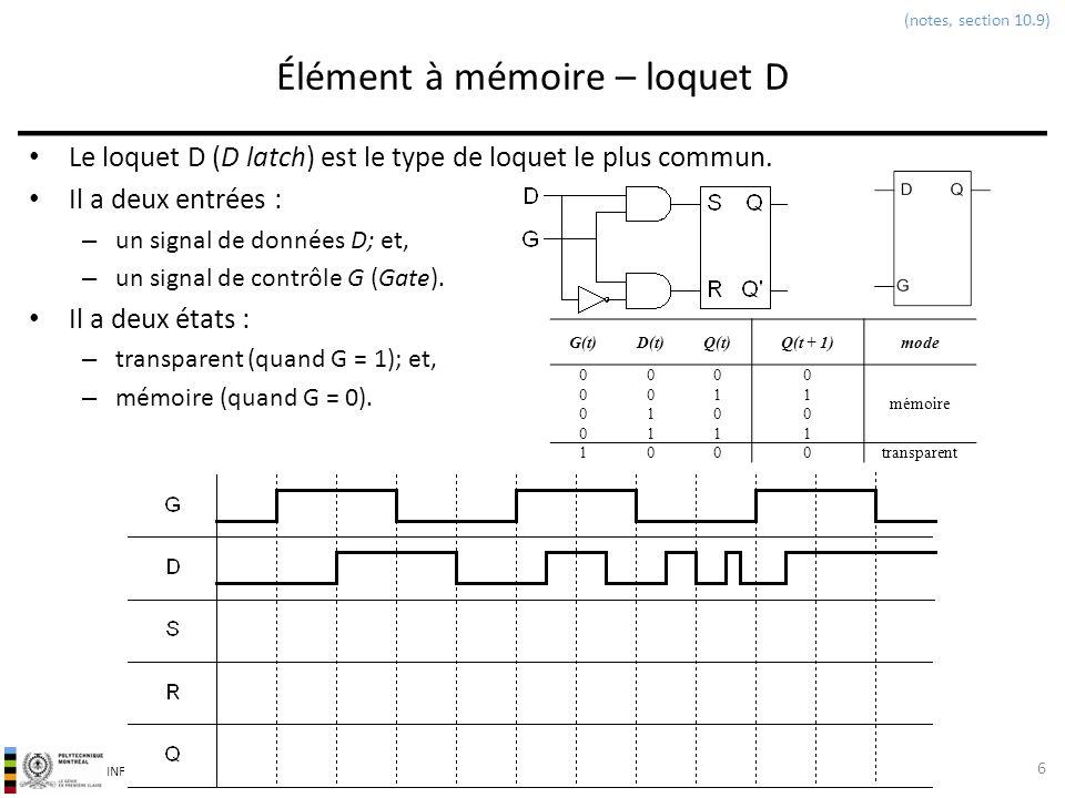 INF3500 : Conception et implémentation de systèmes numériques Loquet D: code VHDL Un loquet D peut-être modélisé en VHDL par un énoncé if-then à lintérieur dun processus.
