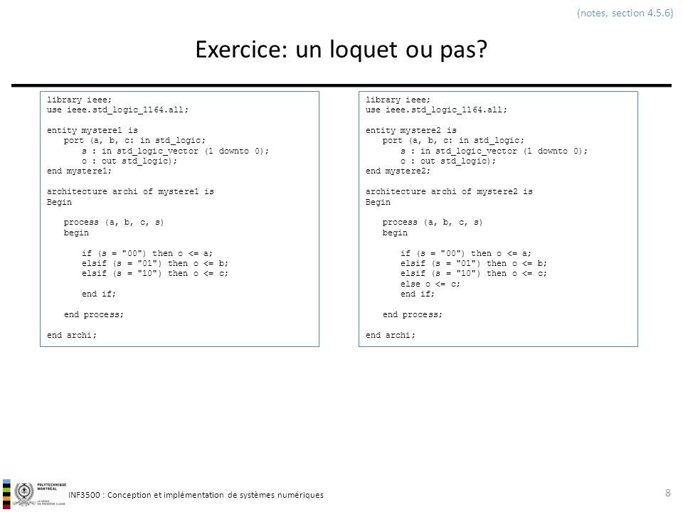 INF3500 : Conception et implémentation de systèmes numériques Sommaire: modélisation dun circuit séquentiel synchrone en VHDL 29 library IEEE; use IEEE.std_logic_1164.all; entity machineMooreMealy is port ( reset : in STD_LOGIC; CLK : in STD_LOGIC; entrees : in std_logic; sortiesMoore : out STD_LOGIC; sortiesMealy : out STD_LOGIC ); end machineMooreMealy; architecture arch of machineMooreMealy is signal etatpresent : std_logic; signal etatprochain : std_logic; begin -- éléments à mémoire process(CLK, reset) is begin if reset= 0 then etatpresent <= 0 ; elsif rising_edge(clk) then etatpresent <= etatprochain; end if; end process; -- calcul du prochain etat process(etatpresent, entrees) begin -- fonction de l état présent et des entrées etatprochain <= etatpresent xor entrees; end process; -- calcul des sorties de Moore process(etatpresent) begin -- fonction de l état présent seulement sortiesMoore <= not(etatpresent); end process; -- calcul des sorties de Mealy process(etatpresent, entrees) begin -- fonction de l état présent et des entrées sortiesMealy <= etatpresent and entrees; end process; end arch;