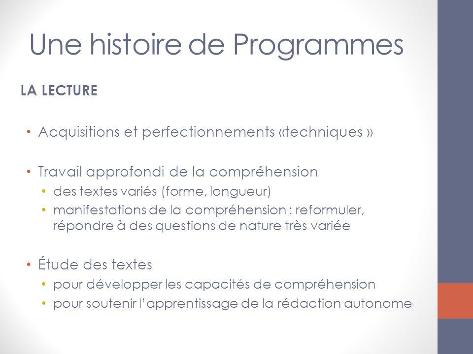 Une histoire de Programmes LA LECTURE Acquisitions et perfectionnements «techniques » Travail approfondi de la compréhension des textes variés (forme,