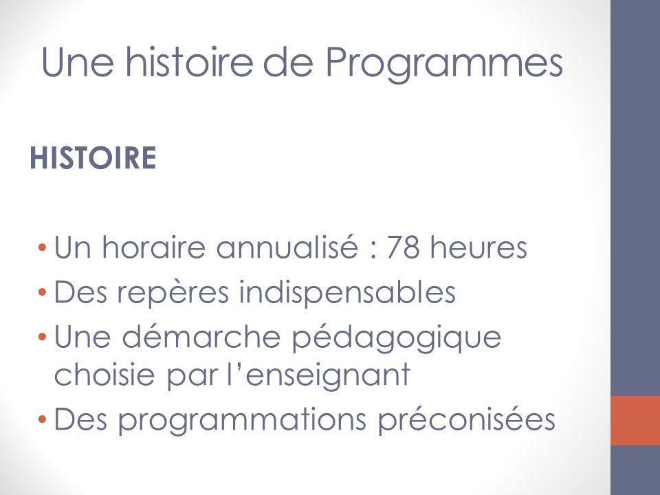 Une histoire de Programmes HISTOIRE Un horaire annualisé : 78 heures Des repères indispensables Une démarche pédagogique choisie par lenseignant Des p
